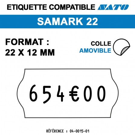 Étiquettes repositionnables pour étiqueteuse SAMARK 22 - 22x12