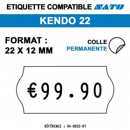 Étiquettes permanentes pour étiqueteuse KENDO 22 - 22x12