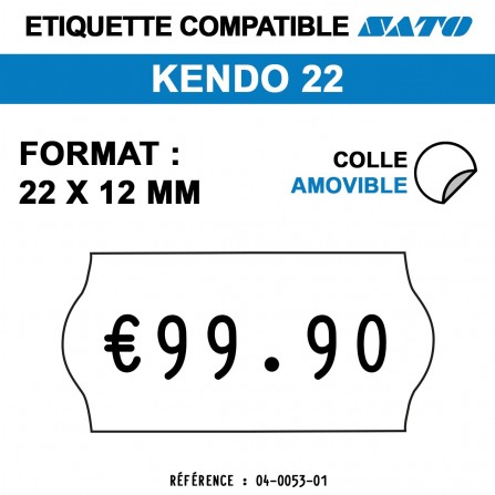 Étiquettes repositionnables pour étiqueteuse KENDO 22 - 22x12