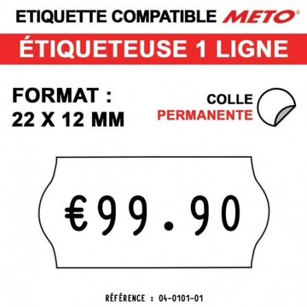 Étiquettes blanches permanentes pour étiqueteuse METO - 22x12