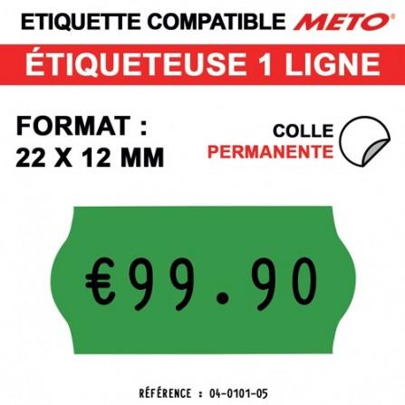 Étiquettes vertes permanentes pour étiqueteuse METO - 22x12