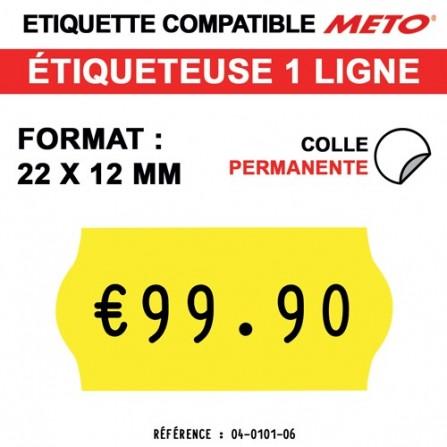 Étiquettes jaunes permanentes pour étiqueteuse METO - 22x12