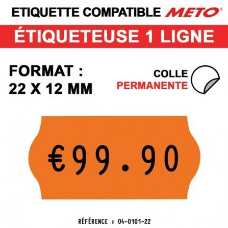 Étiquettes oranges fluo permanentes pour étiqueteuse METO - 22x12