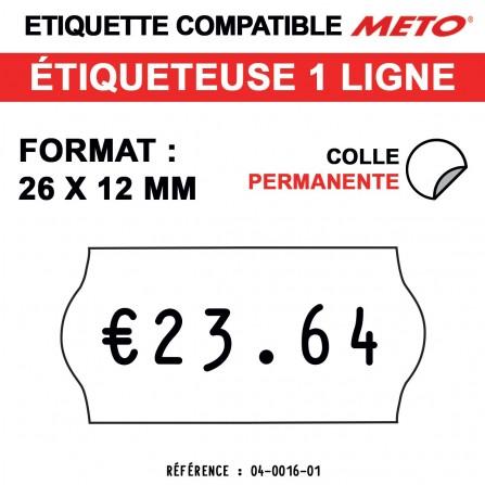 1500 Étiquettes permanentes pour étiqueteuse METO - 26x12