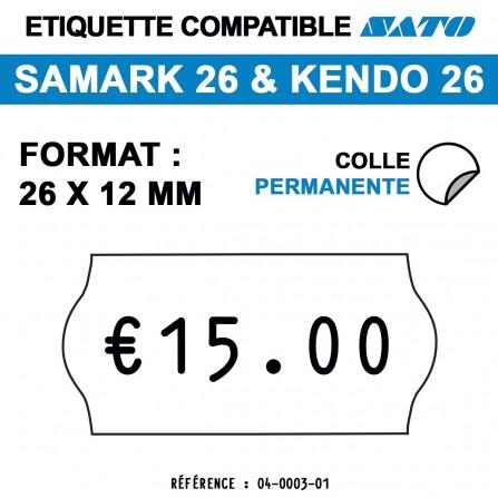 1500 Étiquettes blanches permanentes pour étiqueteuse SATO 26 - 26x12