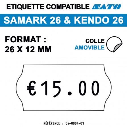 1500 Étiquettes amovibles pour étiqueteuse SATO 26 - 26x12
