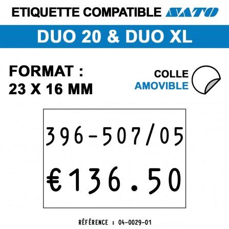 1200 Étiquettes blanches amovibles pour étiqueteuse SATO 20 - 23x16