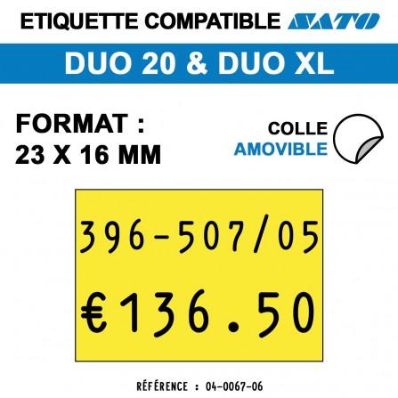 1200 Étiquettes jaunes amovibles pour étiqueteuse SATO 20 - 23x16