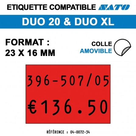 1200 Étiquettes rouges amovibles pour étiqueteuse SATO 20 - 23x16