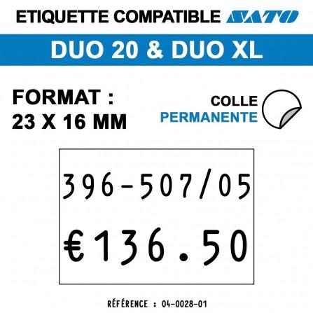 1200 Étiquettes permanentes pour étiqueteuse SATO 20 - 23x16