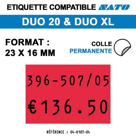 1200 Étiquettes rouges permanentes pour étiqueteuse SATO 20 - 23x16