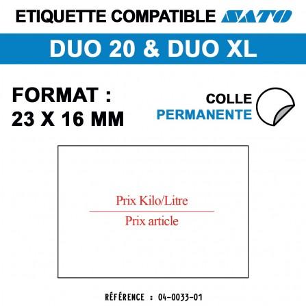 """1200 Étiquettes """"kilo/litre"""" pour étiqueteuse SATO 20 - 23x16"""