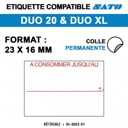 """1200 Étiquettes """"A consommer jusqu'au"""" pour étiqueteuse SATO 20 - 23x16"""