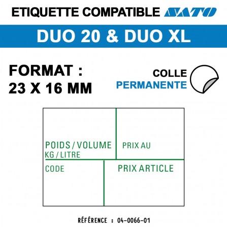 """1200 Étiquettes """"Poids Kg Litre"""" pour étiqueteuse SATO 20 - 23x16"""
