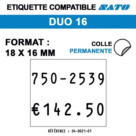 1500 Étiquettes blanches permanentes pour étiqueteuse SATO DUO 16 - 18x16
