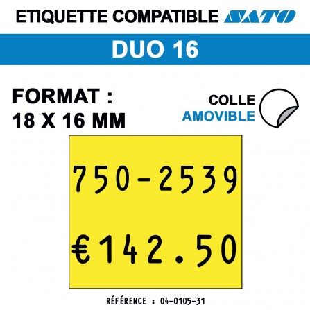 1500 Étiquettes jaunes fluo amovibles pour étiqueteuse SATO DUO 16 - 18x16
