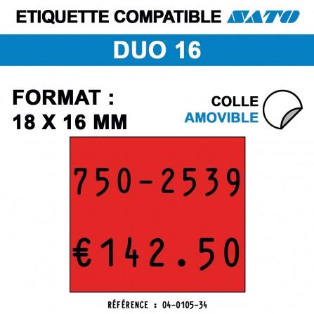 1500 Étiquettes rouges fluo amovibles pour étiqueteuse SATO DUO 16 - 18x16
