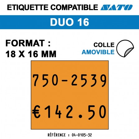 1500 Étiquettes oranges fluo amovibles pour étiqueteuse SATO DUO 16 - 18x16
