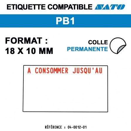 """1000 Étiquettes """"A consommer jusqu'au"""" pour étiqueteuse SATO PB1 - 18x10"""
