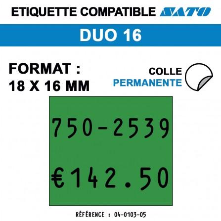 1000 Étiquettes vertes permanentes pour étiqueteuse SATO PB1 - 18x10