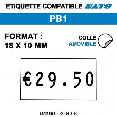 1500 Étiquettes amovibles pour étiqueteuse SATO PB1 - 18x10