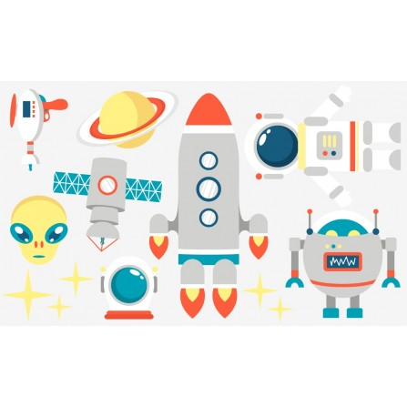 Stickers aventures spatiales - planche format 120 x 70 cm