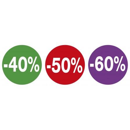 Lot de 3 stickers vitrines soldes - 40% 50% 60%