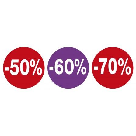 Lot de 3 stickers vitrines soldes - 50% 60% 70%
