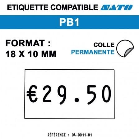 1000 Étiquettes blanches permanentes pour étiqueteuse SATO PB1 - 18x10