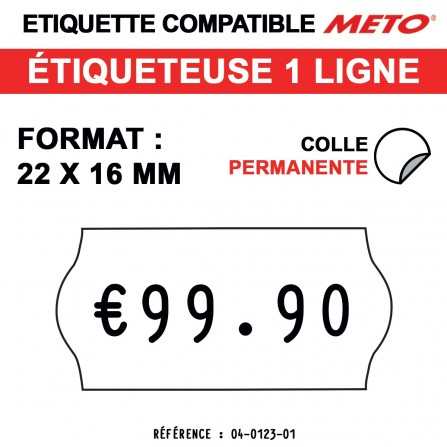 1200 Étiquettes permanentes pour étiqueteuse METO - 22x16