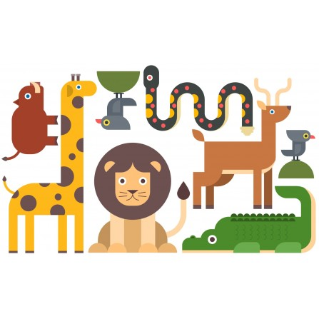 Stickers Animaux de la jungle avec lamination antidérapante